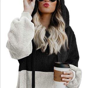 Womens Fuzzy Fleece Sherpa Hoodie Pullover Zip